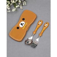 Rilakkuma Spoon Fork Case Set Cute Bear Lunch Box Picnic Child Girls Kids Gift