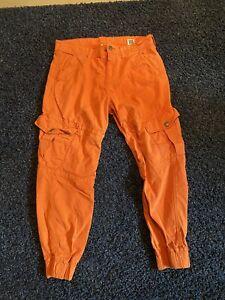 True Religion Cargo Runner Orange Pants Size 34*30