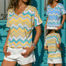 Women's Striped Printing Short Sleeve V-Neck T-Shirt Casual Loose Blouse Tops