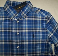 NWT Ralph Lauren Royal/Blue/White PLAID Button-Down Shirt POLO PONY Boy XL 18/20