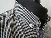 """Ben Sherman Long Sleeve Men's Brown & White Check Shirt ~ Small """"Mod/Soul/Ska"""""""