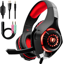 Casque Gaming Pour PS4 Xbox One PC Gamer Micro Anti Bruit Stéréo LED Rouge