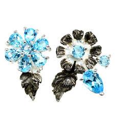 GENUINE AAA SWISS BLUE TOPAZ STERLING 925 SILVER 2-TONE FLOWER EARRING