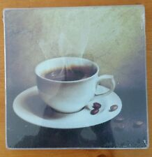 """COOKING CONCEPTS 7.75x7.75""""in SQUARE COFFEE DESIGN GLASS CUTTING BOARD TRIVET"""