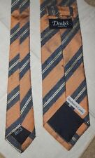 NWOT Drake's Drake London Shantung Raw SILK  Neck Tie England Peach Blue Striped