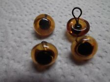 2 PAIRS 9-10 mm AMBER GLASS TEDDY EYES ON HOOPS