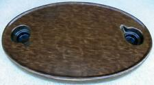 """18"""" X 30"""" Brown Wood Grained Boat Table Top  ABS Plastic 2 Drink Holders X"""