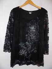 Brittany Black Blouse Top Shirt Lace Floral Design Ladies 3X