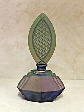 Vtg Czech Iridescent Jizerske Sklo matte finish Cobalt Perfume Bottle+Stopper