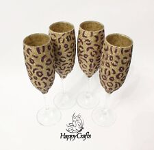 Glitter Top Animal Leopard Print Champange Flute Glasses Set of 4 Gold & Brown
