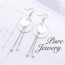 Drop earrings handmade copper shell big white gold circle shiny drop gift