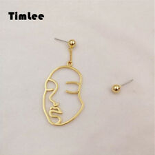 Timlee E142 Lovely Girl Wind Simple Abstract Face Metal Asymmetric Drop Earrings