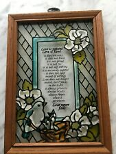 "VTG Stained Glass Window- WOOD FRAME-10X7"" LOVE IS PATIENT VERSE-FLORAL-BIRDS"