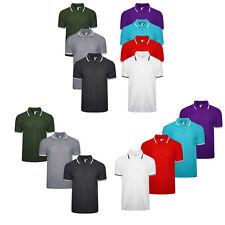 Multipack Mens Polo Shirt Short Sleeve 3,4,7 Pack Pique Plain Tipping TShirt Top