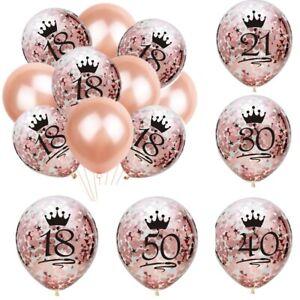Rose Gold 18/21st/30/40/50/60th Happy Birthday Confetti Balloons Party Decor