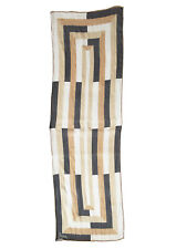 Vera Neumann Chiffon Oblong Scarf Geometric Op Art Rolled Edge Gold Black Ivory