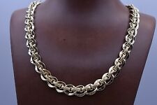 Technibond Textured Mariner Oval Link Necklace 14K Yellow Gold Clad Silver 925