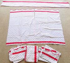 Vintage 50s Red Gray White Polka Dot Curtains 3 Pair 2 Valances