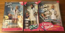 LOT OF 3 Children Doctor, Dr. Ken, Dentist Barbie NRFB