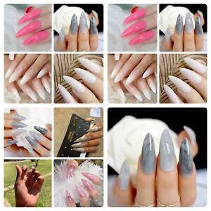 24 Long Marble Stiletto False Nails Shiny Long Press On Fake Nails for Finger UK