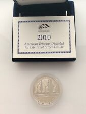 2010 W American Veterans Disabled PROOF SILVER DOLLAR WITH/ BOX-SLIDER & COA