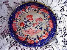 """ViNTaGe Cobalt BLuE~ORaNGe FLoRaL~GoLD ScroLL 10"""" Tin Metal Serving Dish~Bowl"""