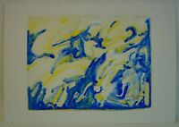 ABSTRAKTE KOMPOSITION - BLUE & YELLOW - ARNE BUEN ?? 1973 MODERN ART COMPOSITION