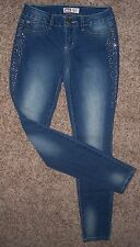 """NEW Womens jeans size 1 L.E.I. EMMA JEGGING """"Bling"""" Low Rise Stretch, Light Wash"""