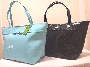 NWT Kate Spade Camellia Street Jeralyn Embossed LG Glossy Tote, Black/Adriatic