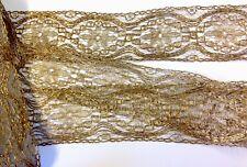 Antiguo oro de larga longitud sin usar ribete de encaje francés 1920s 6.5CM X 6.7M