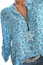 ITALY MODA Tunika MANDALAS Oversize Hemd Bluse Fischerhemd 40 42 44 TÜRKIS Neu