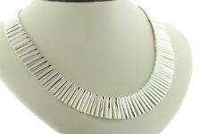 """Sterling Silver 925 Alternating Smooth & Textured Fringe Collar Necklace - 18"""""""