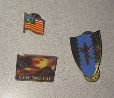 Lot Of 3 Military Patriotic Pins ~ 6th Squadron 4th Cavalry Regiment ~ VFW ~ USA