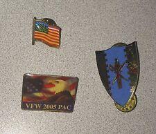 Lot Of 3 Military Patriotic Pins ~ 6th Squadron 4th Cavalry Regiment ~ VFW ~ USA