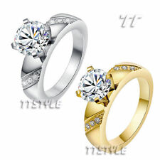Stainless Steel Cubic Zirconia accent Fashion Rings
