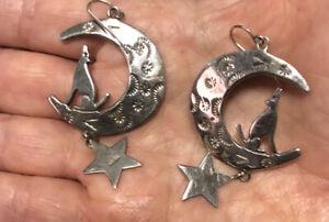 Sterling Silver 925 Wolf Moon Star Earrings 15.12 g