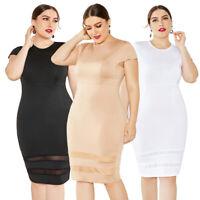 Womens Bodycon Pencil Cocktail Evening Ladies Summer Party Long Dress Plus Size