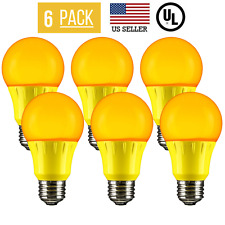 6 PACK 5W LED A19 COLORED LIGHT BULB, NON-DIMMABLE, E26 MEDIUM BASE, YELLOW