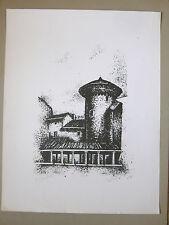 UMIGLIA P. Lithographie originale Signé Architecture Lyon VRINAT Art Litograf