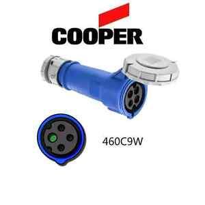 IEC 309 460C9W Connector, 60A, 250V, 3P/4W, Blue - Cooper # AH460C9W