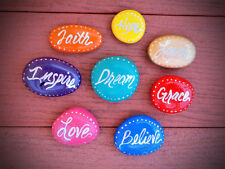 8 Multi-Colored Inspirational Words Hand Painted Rocks - Dream,Love,Hope,Faith