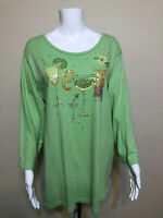 The Quacker Factory Green Beaded Margarita Martini Sequin Detail Shirt Womens 1X