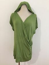 Michael Stars Faux Wrap Tunic Top Hoodie Leaf Green OSFM One Size Fits Most