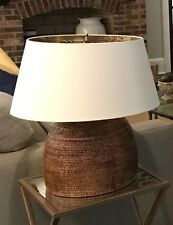 Large Round Wicker Lamp with Large White Shade
