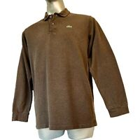 Lacoste  Mens Long Sleeve Polo Shirt L Large Stoney Brown Cotton Top