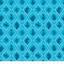 "Disney Alice in Wonderland Frames Topaz Camelot 100% cotton Fabric Remnant 32"""