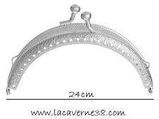 Fermoir de sac porte monnaie à coudre cadre de bourse argent 24 x 10 cm création