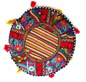 Cotton - Old Sari Patch Work Pillow Cover - Indien Pouf Organic Decor Cushion