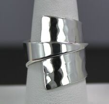 Sterling Silver Modernist Hammered/Rolled Triangle Ring size 8