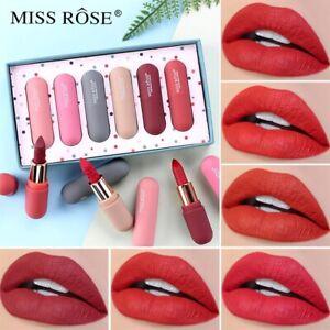 MISS ROSE 6 Colors/Set Lipstick Matte Long Lasting Moisturizing Lipstick Set